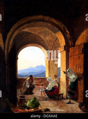 First Steps - by Franz Ludwig Catel, 1825 - Stock Photo