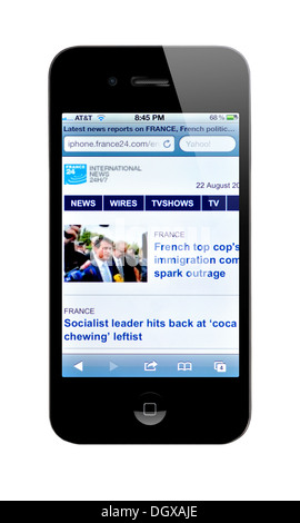 iPhone screen showing France 24 website - International breaking news and headlines - Stock Photo