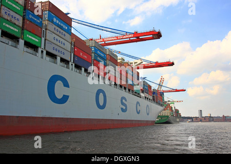 Container ship 'Cosco' being unloaded, container port, Port of Hamburg, Hamburg - Stock Photo