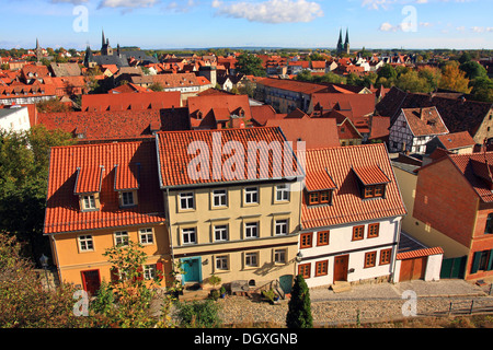 Overlooking the historic town centre from Burgberg, Castle Hill, Quedlinburg, UNESCO World Cultural Heritage Site, - Stock Photo
