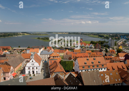 View from the steeple of St. Peter in the town of Wolgast on the Island of Usedom, Baltic Sea, Pomerania - Stock Photo