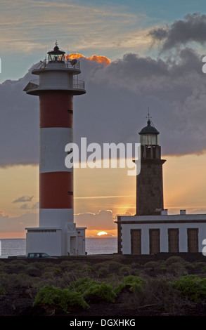New and old lighthouse at Fuencaliente, La Palma, Spain, Europe - Stock Photo