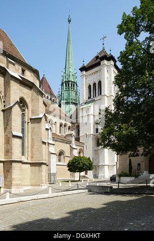 Cathedral of St. Peter, Cathedral St-Pierre, Geneva, Switzerland, Europe - Stock Photo
