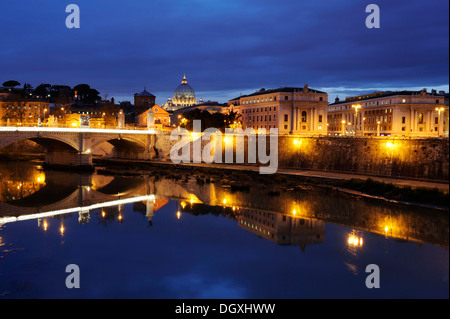 Ponte Vittorio Emmanuel II over the Tiber river at dusk, Vatican, Rome, Italy, Europe - Stock Photo