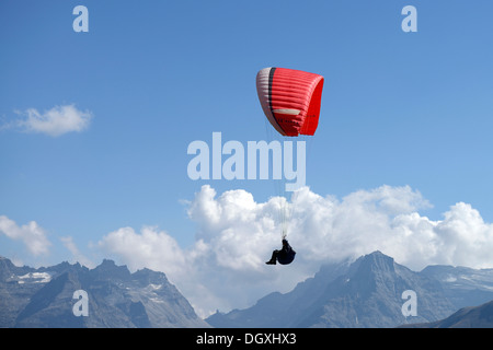 Paragliding over the Valais Alps, Goms, Switzerland, Europe - Stock Photo