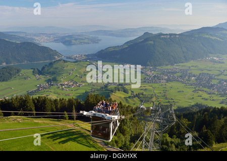 CabriO Bahn, the world's first cable car with an open top deck, going up Stanserhorn Mountain, Stans, Switzerland, - Stock Photo