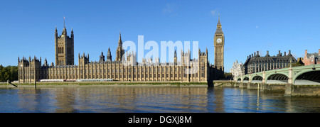River Thames with the Palace of Westminster or Houses of Parliament and Big Ben, London, England, United Kingdom, - Stock Photo
