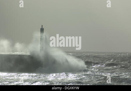 Aberystwyth, Wales, UK. Aberystwyth promenade being hit by the St Jude gale force winds on Sunday October 27th 2013. - Stock Photo