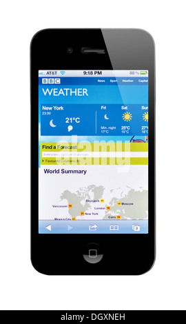 IPhone Screen Showing BBC Weather Forecast Stock Photo Royalty - Nyc bbc weather
