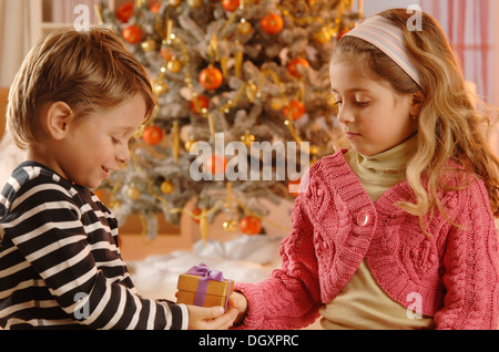 Girl giving a boy a Christmas gift in front of a Christmas tree - Stock Photo