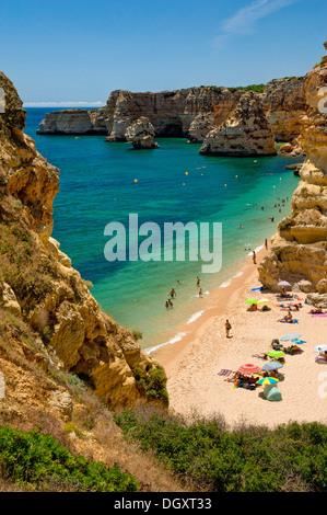 Portugal, the Algarve, Armacao de Pera, Praia da Marinha beach in summer - Stock Photo