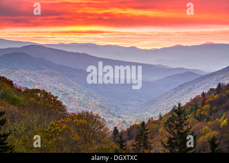 Autumn sunrise in the Smoky Mountains National Park. - Stock Photo