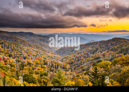 Autumn sunset in the Smoky Mountains National Park. - Stock Photo