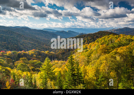 Smoky Mountains landscape at Newfound Gap in autumn. - Stock Photo