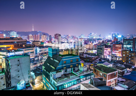 Seoul, South Korea with Seoul Tower in the distance - Stock Photo