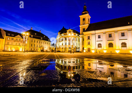 Sibiu town square at blue hour - Stock Photo