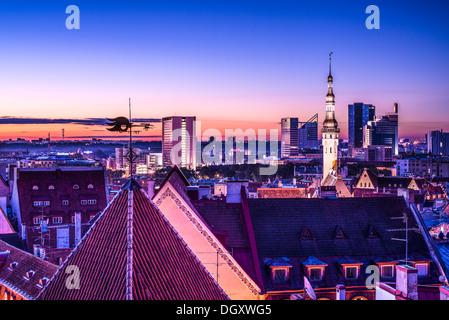 Skyline of Tallinn, Estonia after sunset. - Stock Photo