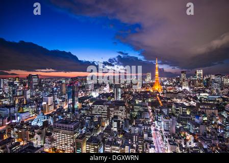 Tokyo Japan after sunset. - Stock Photo