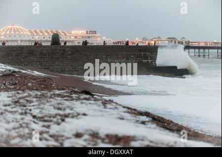 Brighton, UK. 27th Oct, 2013. Huge waves crashing on Brighton seafront ahead of predicted storm as gale force winds - Stock Photo