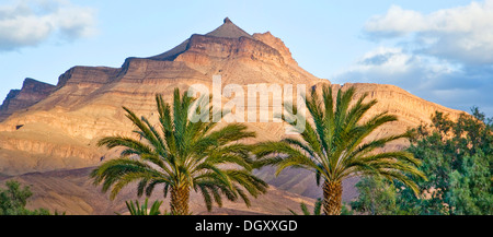 Djebel Kissane table mountain with palm trees in the Draa valley, Agdz, Morocco, Africa - Stock Photo