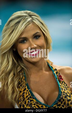 London, UK. 27th Oct, 2013. Jacksonville Roar Cheerleader smiles for the camera during the NFL International Series - Stock Photo