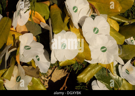 White Poppy wreath symbolising peace and pacifism UK - Stock Photo