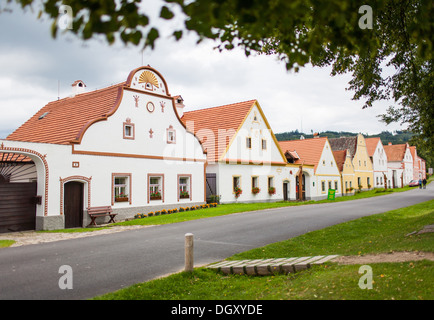 HOLASOVICE, CZECH REPUBLIC. Village Holasovice, UNESCO World Heritage Site. Buildings in the baroque style - Stock Photo