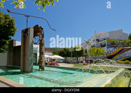 Portugal, the Algarve, Monchique village water mill in the central square, the Largo dos Chorões - Stock Photo