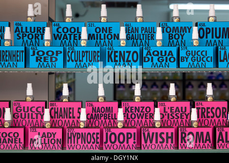 Bottles of perfume for men and women in a perfumery in Rovinj, Rovingo, Istria, Croatia, Europe, Rovinj, Croatia - Stock Photo