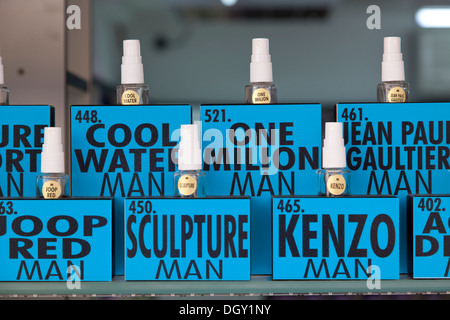 Bottles of perfume for men in a perfumery in Rovinj, Rovingo, Istria, Croatia, Europe, Rovinj, Croatia - Stock Photo