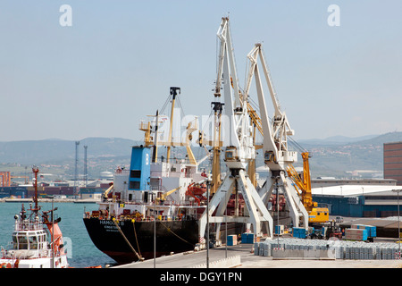 Cargo ship being unloaded in the port of Koper, Slovenia, Europe, Koper, Slovenian Littoral, Slovenia - Stock Photo