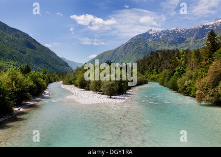 Soca River in the Soca Valley in Triglav National Park, Julian Alps, near Bovec, Slovenia, Europe - Stock Photo