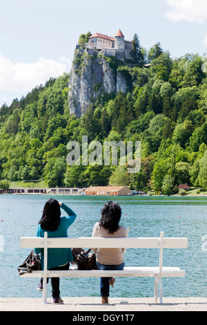 Castle above Lake Bled in Bled, Slovenia, Europe, Bled, Upper Carniola, Slovenia - Stock Photo