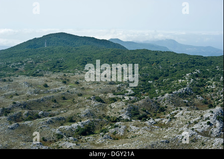 View of Corfu island from the top of Mount Pantokrator, 906 m a.s.l. - Stock Photo