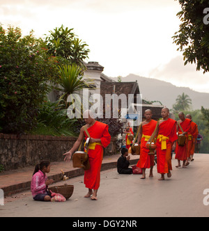A Buddhist monk gives a poor girl food during the daily morning ceremony of giving alms to monks in Luang Prabang, - Stock Photo