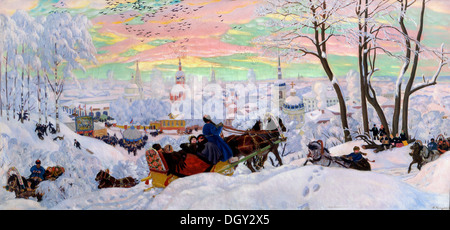 Boris Kustodiev, Shrovetide 1916 Oil on canvas. State Russian Museum, Saint Petersburg, Russia. - Stock Photo