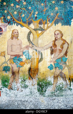 'Adam and Eve in Paradise', Baroque wall painting on a building, Ortskern von Ardez | Centre of Ardez, Unterengadin, - Stock Photo