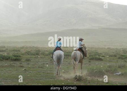 Two small Mongolian children, boys riding in the dry grassland on white Mongolian horses, Lun, Toev Aimak, Mongolia, - Stock Photo