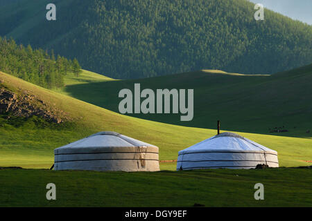 Yurt camp or ger camp, in the grasslands at the Orkhon waterfall in front of the mountains of the Khuisiin Naiman - Stock Photo