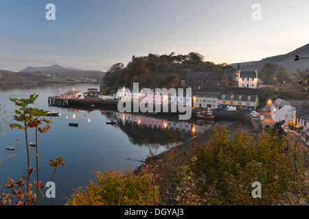 Row of houses at the harbour at dusk, Portree, Isle of Skye, Scotland, United Kingdom, Europe - Stock Photo