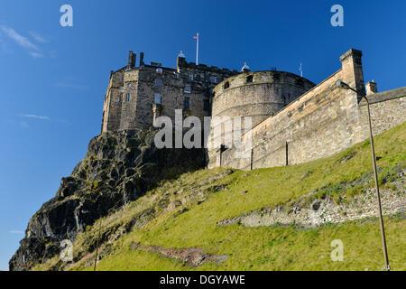 Edinburgh Castle, Edinburgh, Scotland, United Kingdom, Europe - Stock Photo