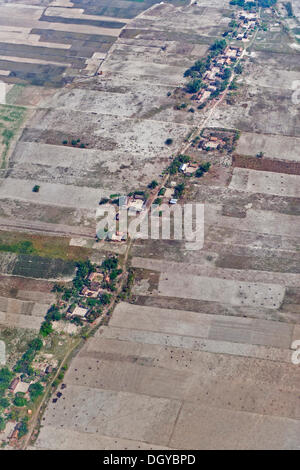 Aerial view of houses on the outskirts of Guwahati, Assam, India, Asia - Stock Photo