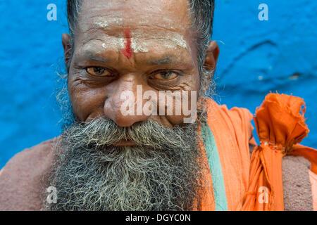 Sadhu holy man, Varanasi, Uttar Pradesh, India, Asia - Stock Photo