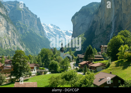 Valley of Waterfalls, Lauterbrunnen, Switzerland - Stock Photo