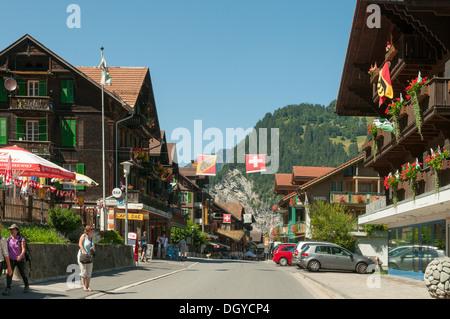 Main Street, Lauterbrunnen, Switzerland - Stock Photo