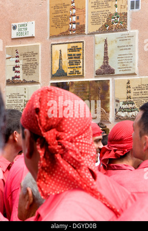 Colla Vella dels Xiquets de Valls and plaques conmemorating great deeds of `Castellers´ - Stock Photo