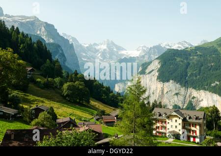 Lauterbrunnen Valley from Wengen, Switzerland - Stock Photo