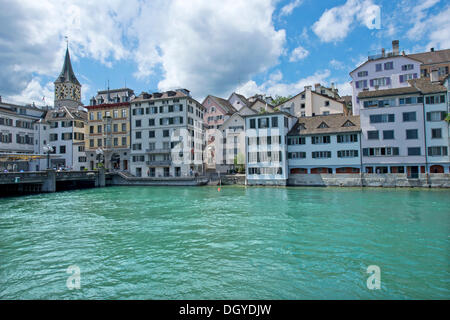 Limmat river, Church of St. Peter in the old town of Zurich, Switzerland, Europe - Stock Photo
