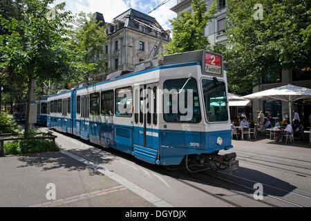 Tram, old town, Zurich, Switzerland, Europe - Stock Photo