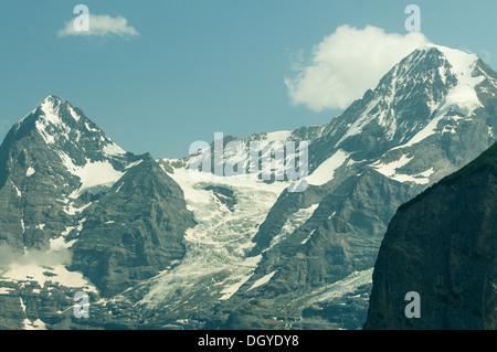 Eiger and Monch from Murren, Switzerland - Stock Photo